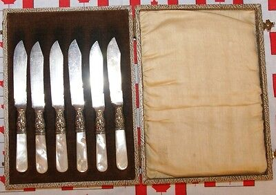 Antique Mother Of Pearl MOP 6 Knife Set - Please Look At Markings