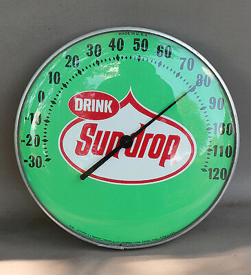 """1960s SUNDROP COLA 12"""" Round Thermometer soda pop"""