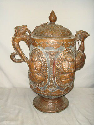 Old Tibetan Hand Chased Large Copper or Bronze Covered Vessel Pot