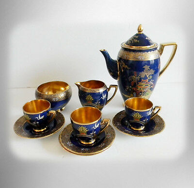Carlton Ware tea set - Royal Mikado design - pot w cream and sugar -  FREE SHIP