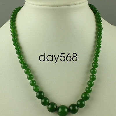 Chinese natural Oriental vintage green Jade Beads Necklace  QQW72