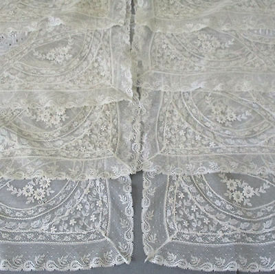 "Set 8 Vintage Creamy French NORMANDY LACE Placemats Embroidered FLOWERS 17""X12"""