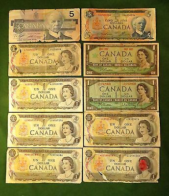 LOT (10) Canadian Notes ~ Face Value $18 ~ Mixed Denominations & Conditions