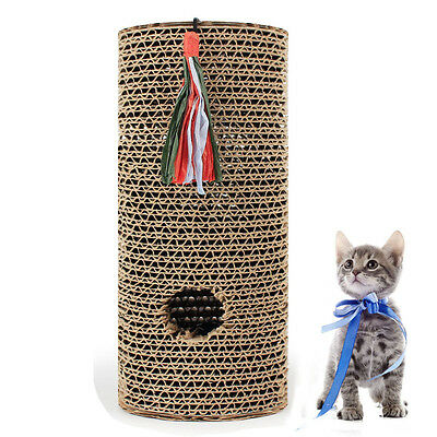 Free Catnip Cat Scratching Post Training Roller Toys Rolling Scratcher Cylinder