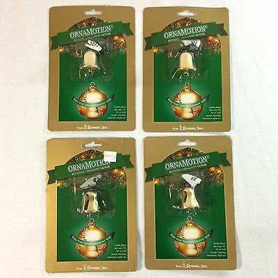 Roman Ornamotion Rotating Christmas Ornament Motor Lot of 4 Gold Bell Shaped New