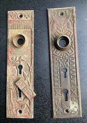 Antique Eastlake brass copper door plates double key hole cover hardware ornate