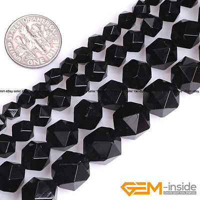 """Natural Black Agate Polygonal Faceted Round Beads For Jewelry Making Strand 15"""""""