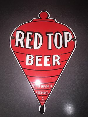 Vintage Red Top Beer Sign Steel Porcelain Cincinnati Ohio Beverage Pump Plate