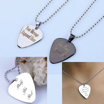"Personalised Stainless Guitar Pick Plectrum 24""Necklace Pendant Black Silver Gif"