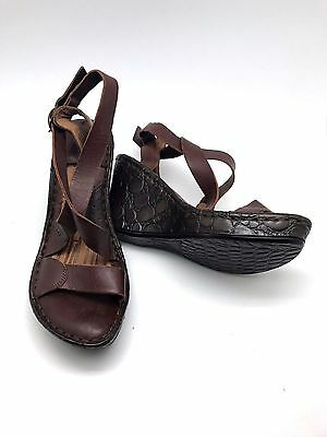 Born Leather Platform Wedge Shoes Women 8 Brown Strappy Open Toe Heel Chocolate