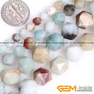 """Natural Multi-Color Amazonite Gemstone Polygonal Faceted Round Beads Strand 15"""""""