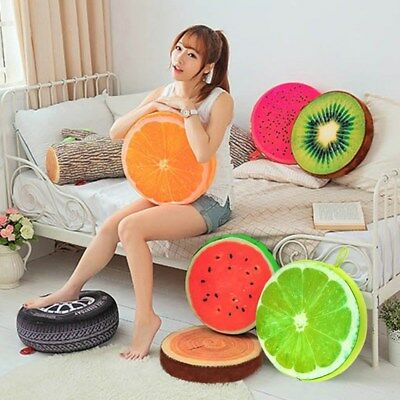 3D Soft Cute Fruit Pillow Pad Watermelon Kiwi Sofa Office Home Room Cushion Mat