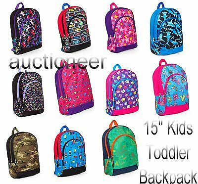 "Childs 15"" BACKPACK 2-Pocket Girls/Boys School Book Bag Toddler Preschool Kids"