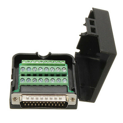 DB25 D-SUB 2 Row Male 25Pin Plug Terminals Screw Cover free Solder Connector
