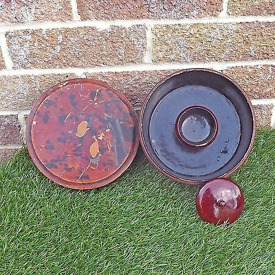 Unidentified Round Lacquer Bowl / Box & Lid With Inner Lidded Container