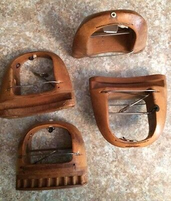 4 Antique Wooden Lace Loom Shuttles