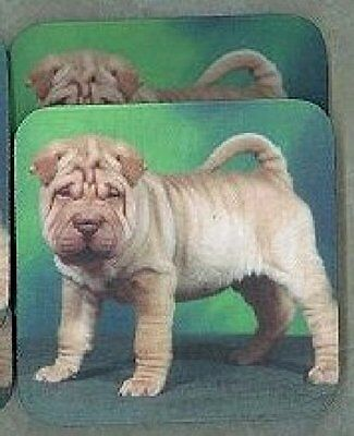FAWN CHINESE SHAR PEI PUPPY Rubber Backed Coasters #0554