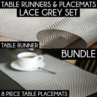 TABLE RUNNER + 8 PLACEMATS Colour Bundle Decor Place Mat + Table Cloth Runners