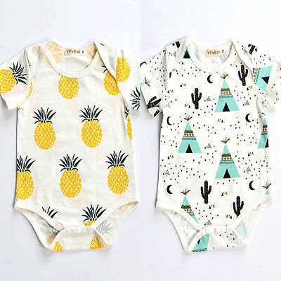 Cotton Newborn Infant Baby Boy Girls Bodysuit Romper Jumpsuit Clothes Outfits