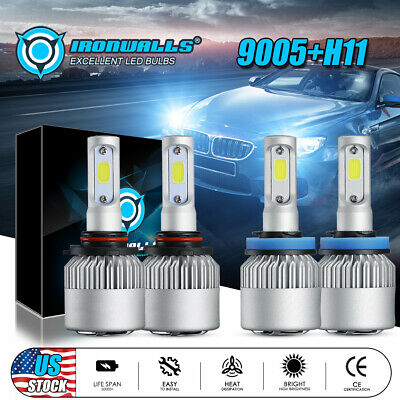 2 Pair 9005 + H11 Combo Total 3000W 450000LM LED Headlight Kit Light Bulbs 6000K