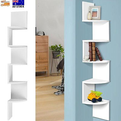 5 Tier Corner Wall Shelf Display Unit Bookcase Shelves Storage White Home DIY