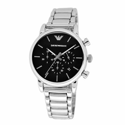 Emporio Armani Mens Chronograph Watch Stainless Steel Bracelet Black Dial AR1853