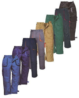 Portwest Texo Contrast Trousers Elastic Waist Knee Pad Pockets Work Wear TX11