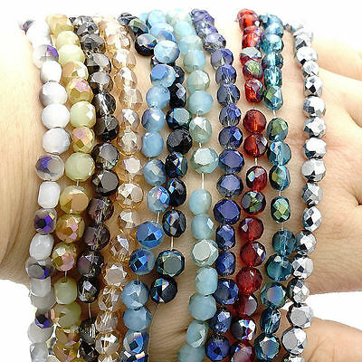 Wholesale 50pcs Drum Faceted Rondelle crystal glass  Loose Bread beads 6mm DIY