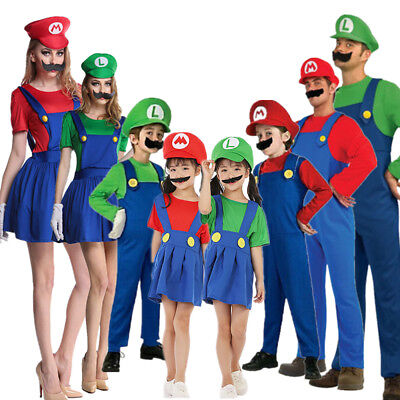 Adult Kids Super Mario Costume Luigi Bros Plumber Brothers Fancy Dress For men