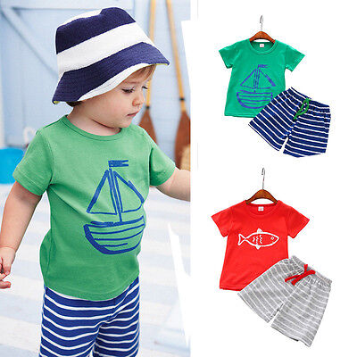 Summer Casual Kids Toddler Baby Boy T-Shirt Tops+Beach Shorts Pants 2PCS Clothes