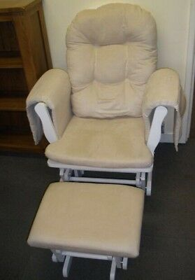 Serenity White Nursing Glider maternity gliding rocking chair with footstool