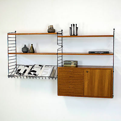 Original Teak Shelving System STRING w/ Cabinet by Nisse Strinning - Regal no.1