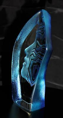 Hand Etched Blue Amazona Crystal - Mats Jonasson - New From Gallery - (14378)