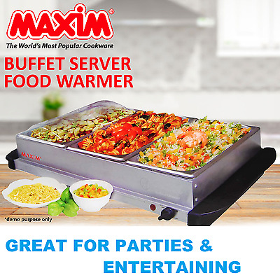 Buffet Food Warmer Large Stainless Steel Electric Bain Marie 3 x 2L Meal Trays