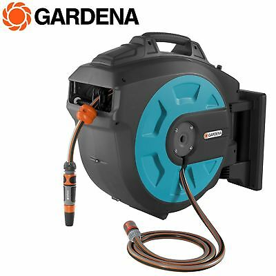 Gardena Wall-Mounted Hose Reel Box 25m Roll-Up Automatic Watering Garden Spray