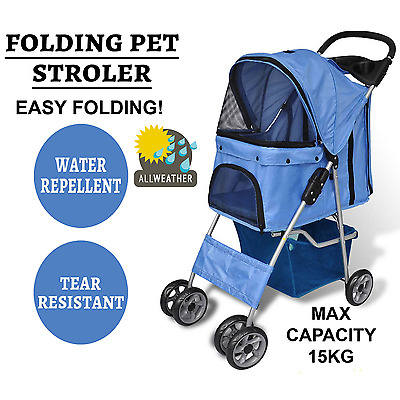 Folding Pet Stroller Dog Cat Pram Carrier Travel Trolley Pet Pusher Walker Blue