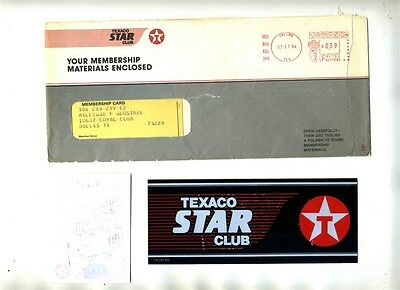 Texaco Star Club Membership Materials Packet 1986 Forms Cards Stickers