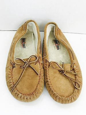 Minnetonka Women's Shoes Size 10 Moccasins Slippers Suede Faux Fur Lining