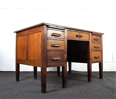 Antique vintage oak writing desk