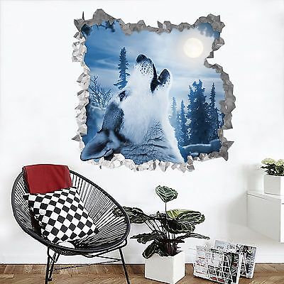 3D Wolf moon 57 Wall Murals Stickers Decal breakthrough AJ WALLPAPER AU Lemon