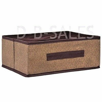 "NEW Essentials Collapsible Storage Container w/ Handle 8.5 x 11.5 x 4.75"" BROWN"