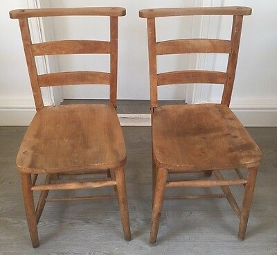 Pair Of Victorian Vintage Wooden Chapel / Church / Dining Chairs