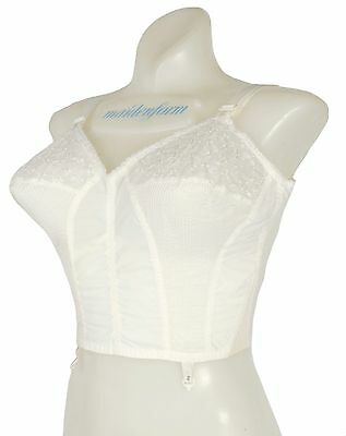 Vintage 60s White Embroidered Long Line Bullet Bra Embroidered Chiffon 38B