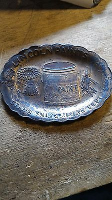 Lincoln Paints antique vintage advertising tip tray copper tin neat varnish can