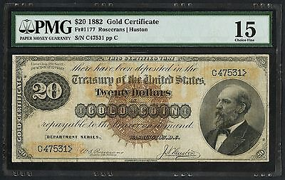 Fr1177 $20 1882 Gold Certificate Pmg 15 Choice Fine Rare (34 Recorded) Wlm3737