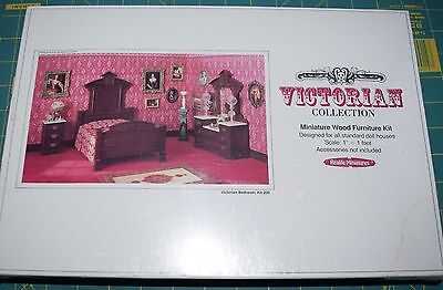 "Dollhouse Furniture kit, 1:12, ""Victorian Bedroom Set"", by Realistic Miniatures"