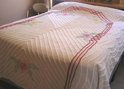 """Vintage 102"""" X 86"""" Off White Cotton Chenille Bedspread with Large Flowers"""