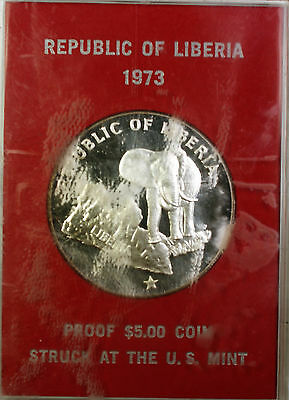 1973 Republic of Liberia Silver $5 Elephant Proof Coin in a Red Plastic Case
