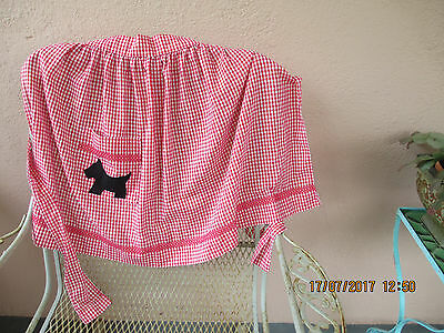 vintage  red checked half apron with Scottie on pocket.