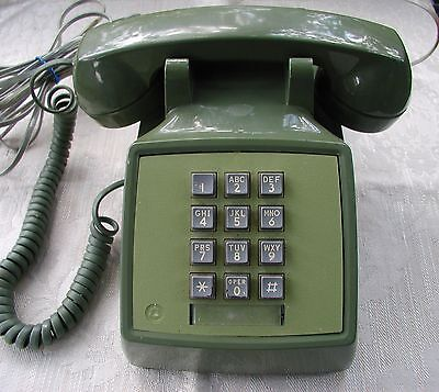 NICE Vintage Bell Telephone Western Electric Olive Green Pushbutton Desk Phone